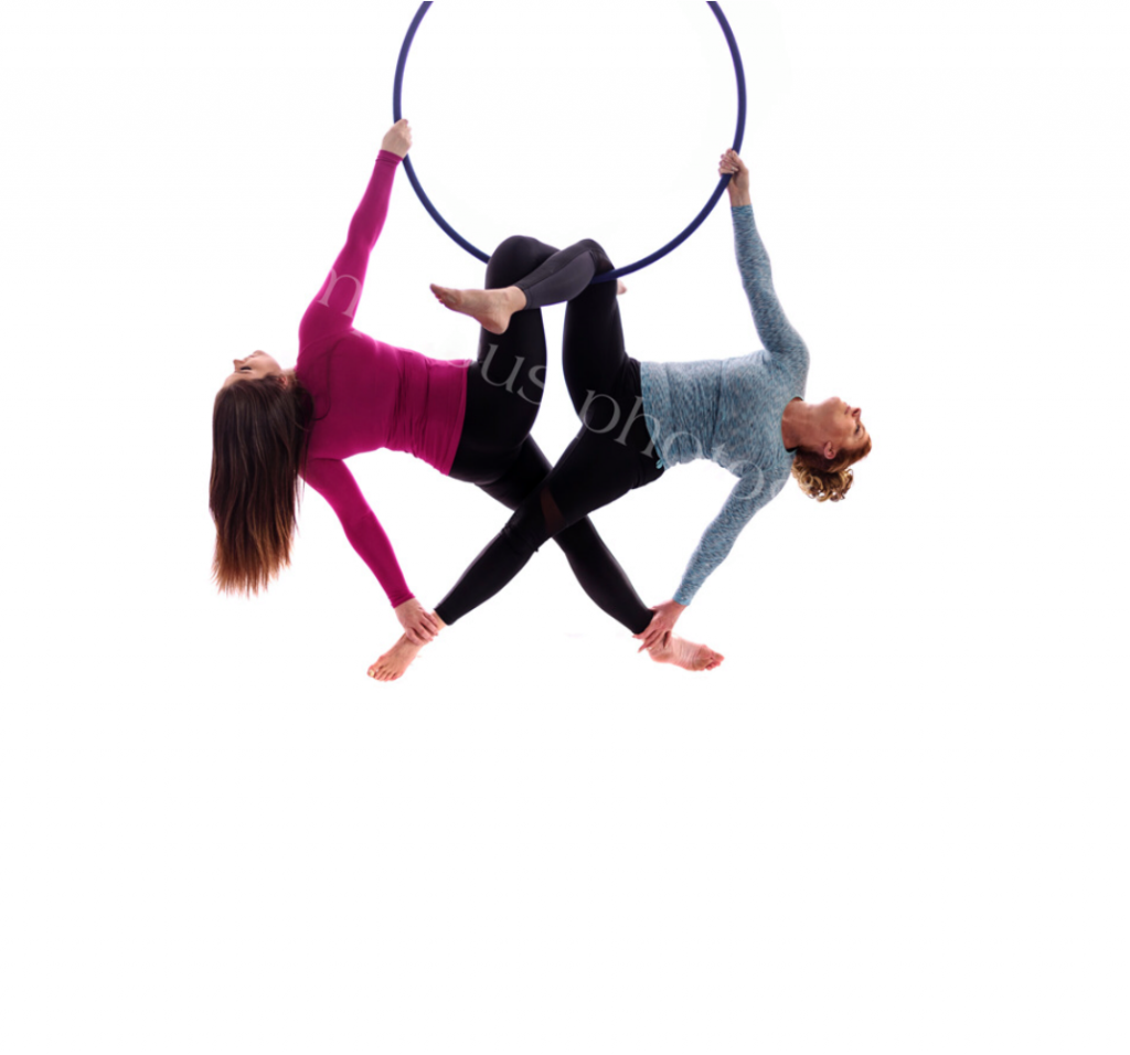Debbie and her daughter aerial hoop