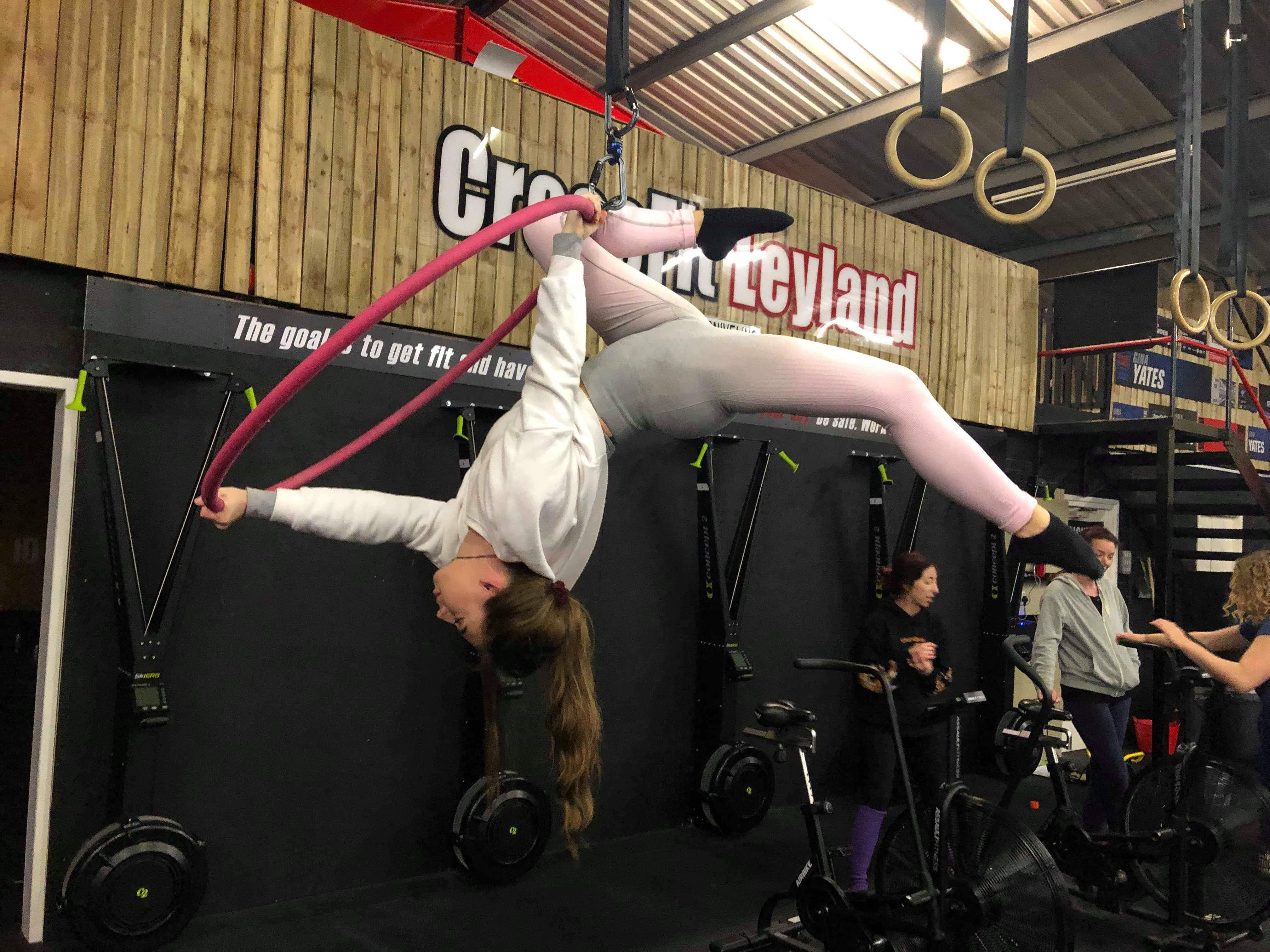 Becky Corcoran Single Leg Scarab on the Aerial Hoop
